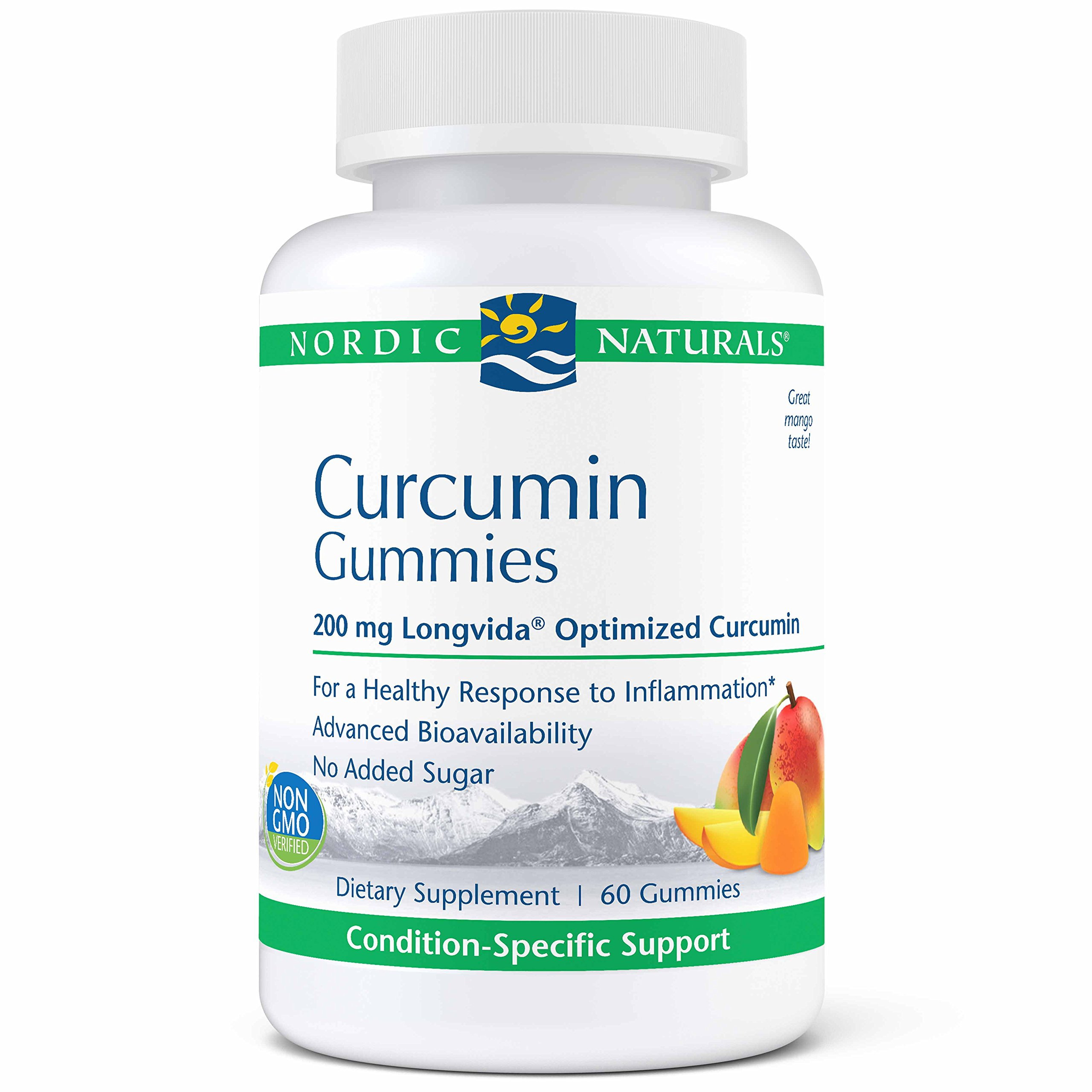 Nordic Naturals Pro Curcumin Gummies - 200mg Longvida Optimized Curcumin, Support for Nervous System and Inflammation Response, Cardiovascular, Joint and Immune Health, Mango Flavor, 60 Gummies