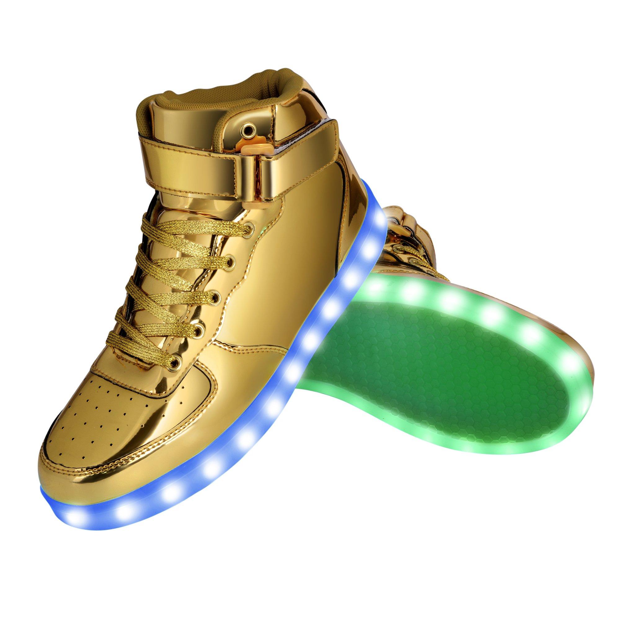 GreatJoy Cool Fun Light up LED Shoes Sneaker 7 Colors USB Charging (39/7.5B women/6D Men, Gold)