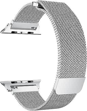 حزام ساعة ابل متوافق مع VINSOC 42 مم، شبكة ميلانو الفولاذ المقاوم للصدأ حلقة إغلاق مغناطيسي قابل للتعديل iWatch Band متوافق مع Apple Watch Series 3 2 1 (42 مم فضي)