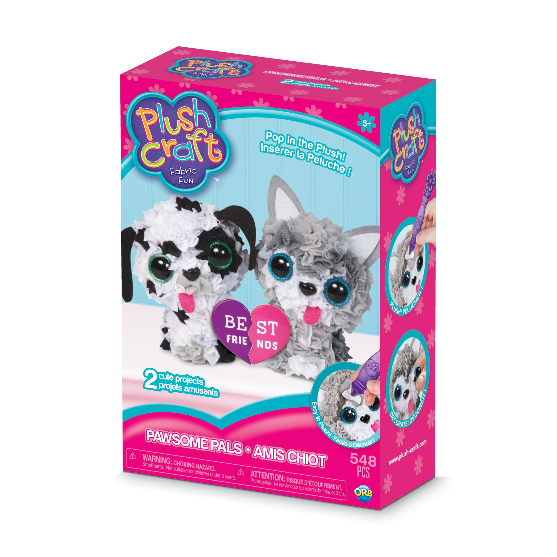 THE ORB FACTORY LIMITED 10027967 Plush Craft 3D Paw Some Pals Set, 10'' x 3'' x 8.5'', Grey/White/Black/Pink by THE ORB FACTORY LIMITED