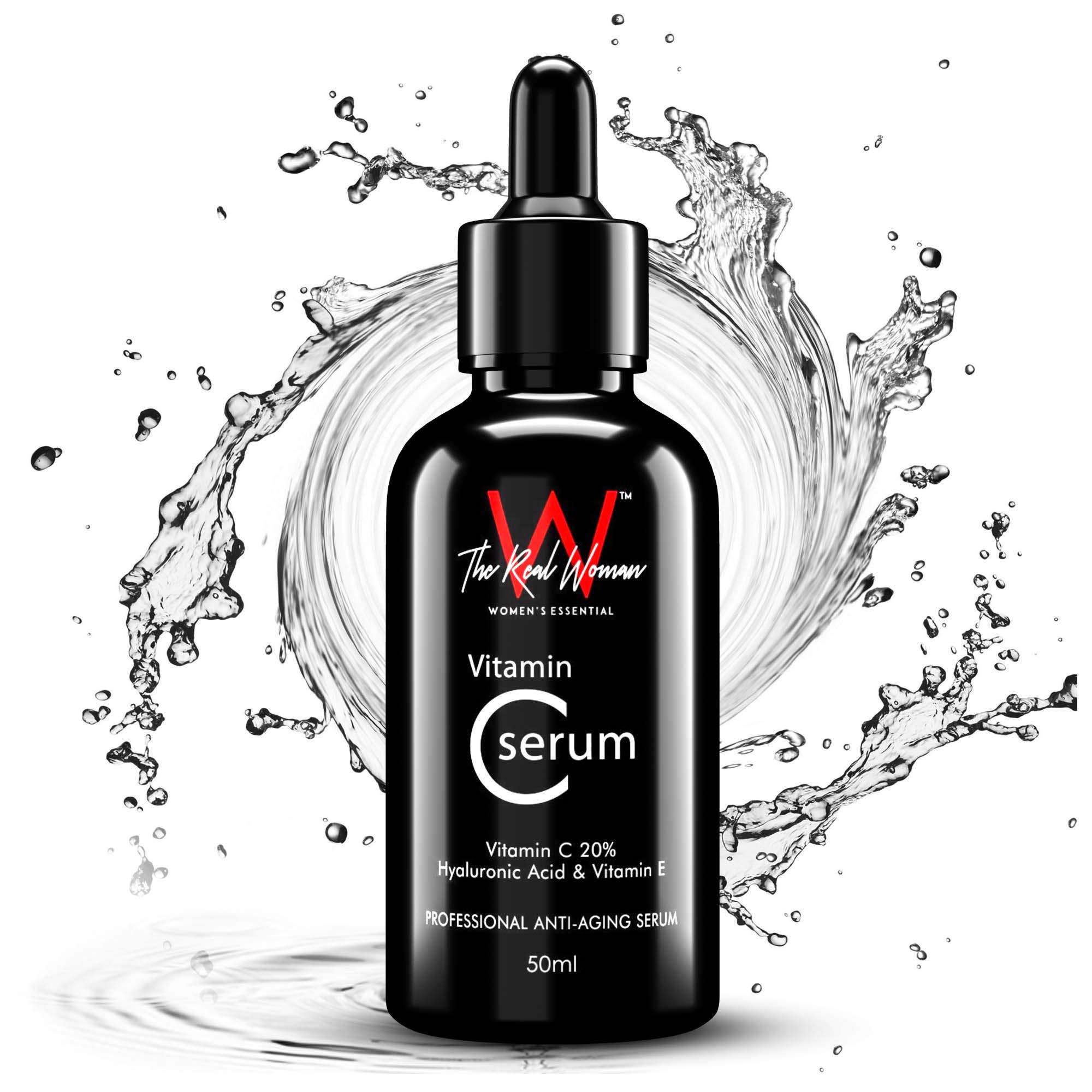 THE REAL WOMAN Professional Anti-Aging Vitamin C Serum 50ml. Vitamin C 20% + Hyaluronic Acid & Vitamin E. Under Eye Dark Circles, Anti Aging, Skin Fairness & Brightening. (PACK OF 1) product image