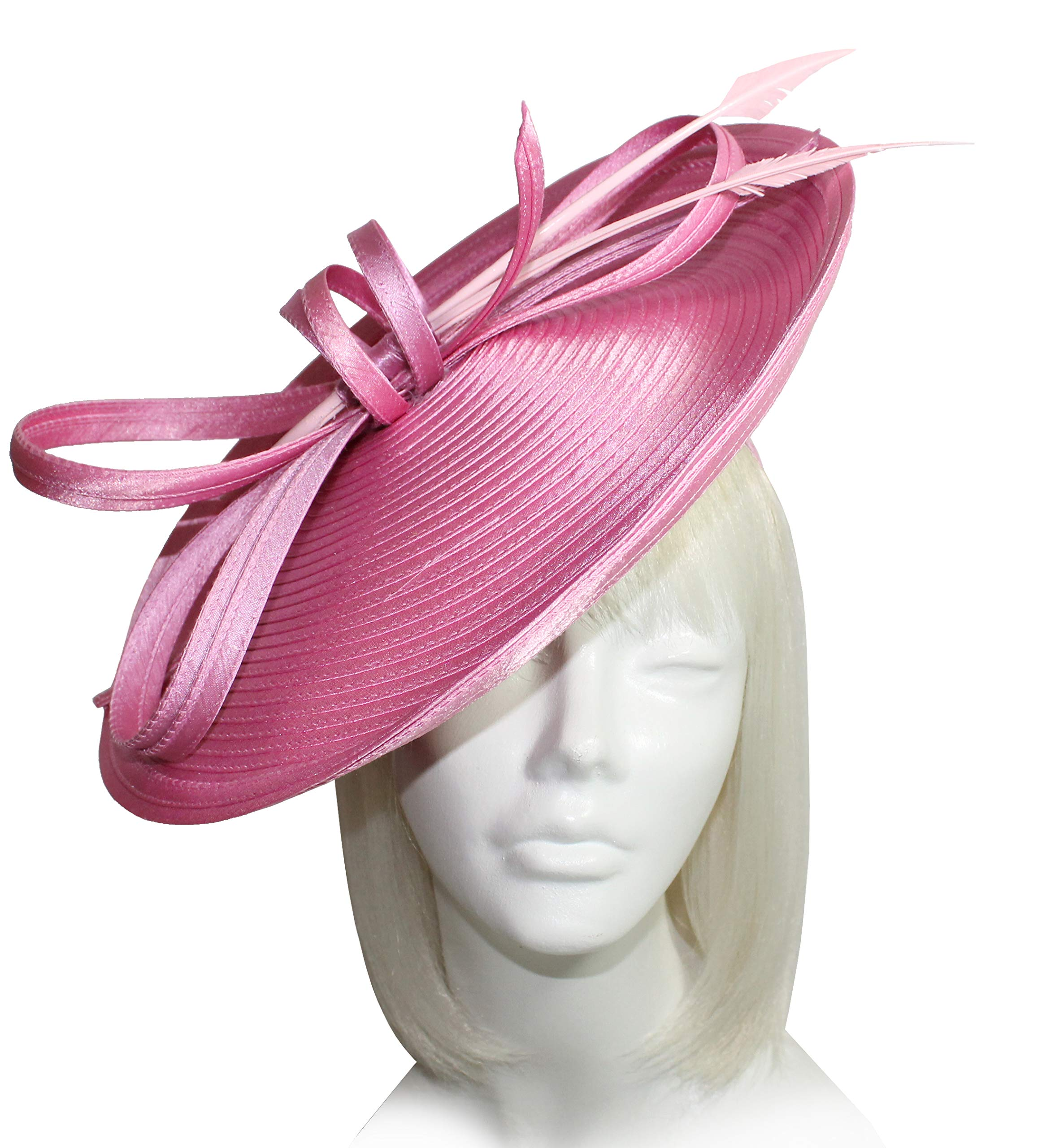 Mr. Song Millinery Kentucky Derby All-Season Profile Dish Headband Fascinator - AF113 Rose Pink
