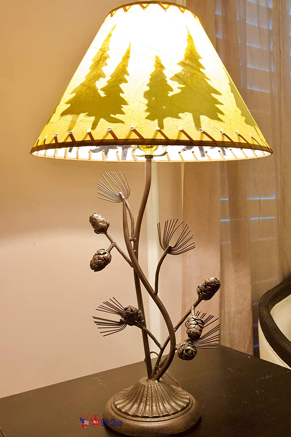 Metal Pine Cone Desk Table Lamp W/Shade Rustic Country Style Cabin Lodge Home Décor
