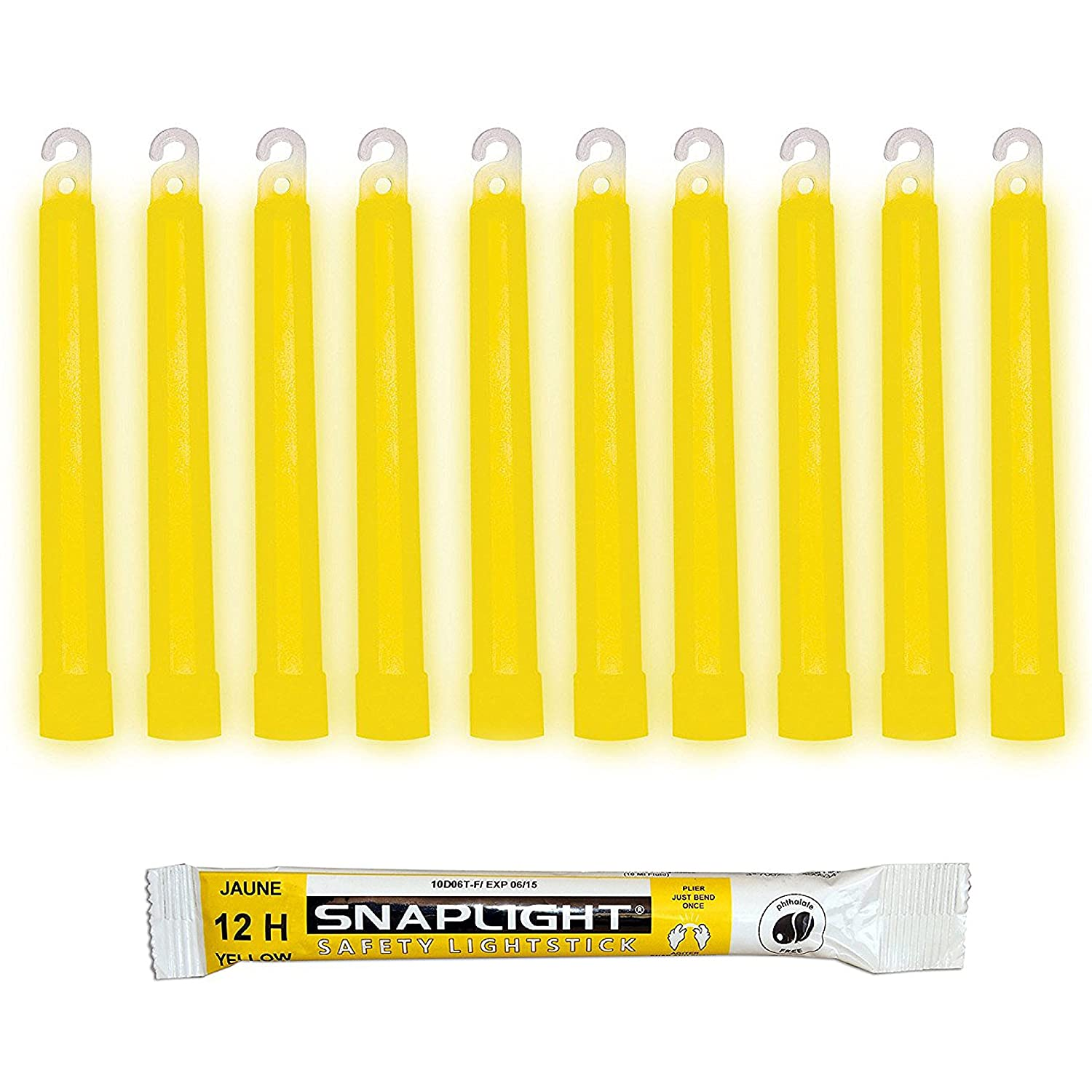 Cyalume SnapLight 6' Industrial Grade Glow Sticks, Multi-Color 20 Pack (10pcs White 8h, 10pcs Yellow 12h) Light Sticks Cyalume Technologies SA8-208099AM