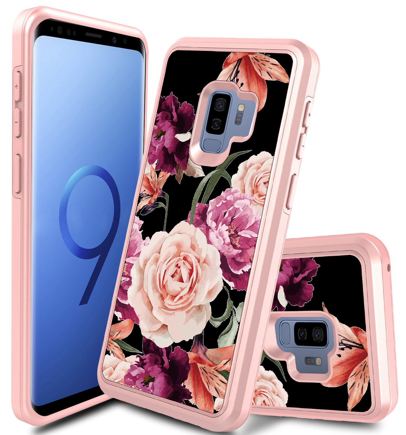 Galaxy S9 Case, S9 Case Rugged, Slim Hybrid Heavy Duty Shockproof Soft Rubber TPU Hard Protective Cover for Samsung Galaxy S9 Without Built in Screen Protector (Floral Rose Gold)