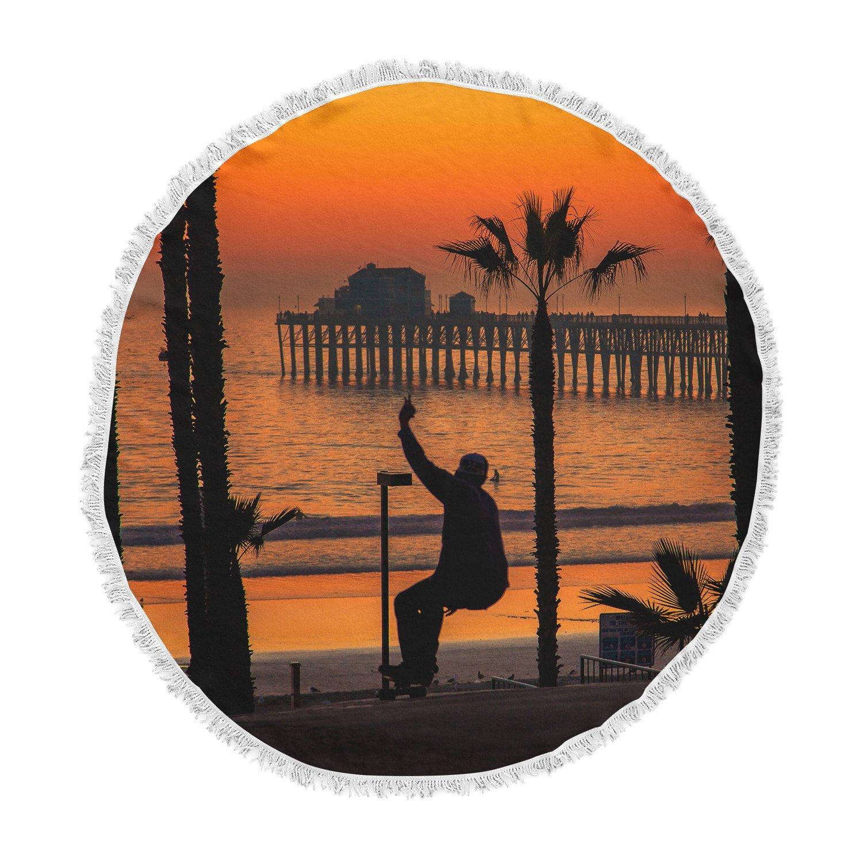 Kess InHouse Juan Paolo Endless Summer Orange Black Round Beach Towel Blanket