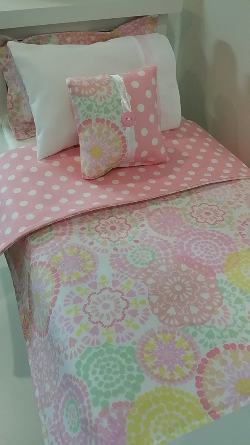 18 Doll Bedding, Pastel Flowery Doll Bedding Made to Fit American Girl Dolls 18 Doll Bedding