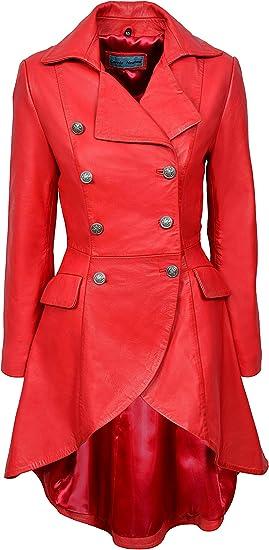 EDWARDIAN Ladies Women Red WASHED Real Napa Leather Jacket Coat Gothic 3491-P