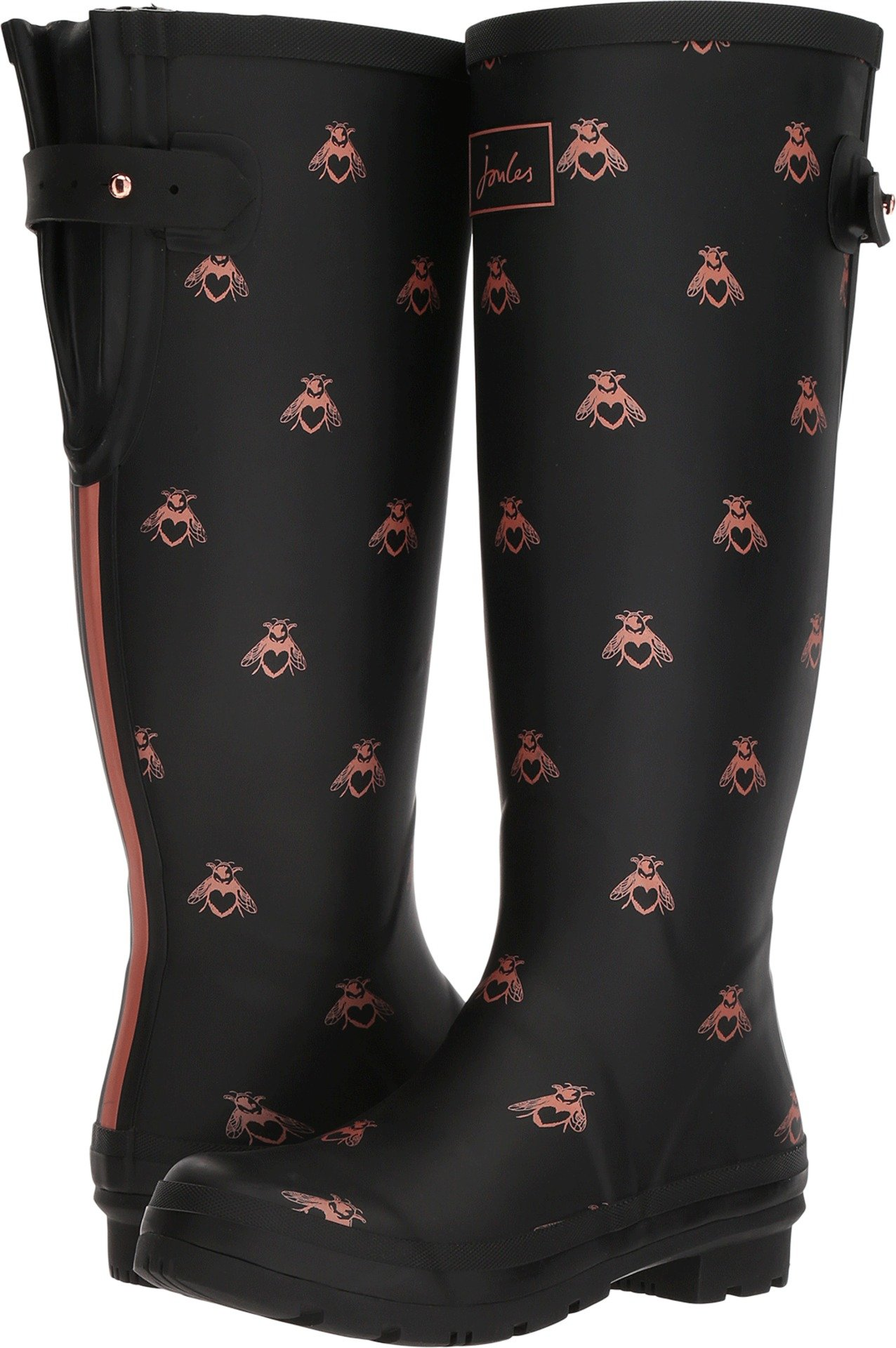 Joules Women's Tall Welly Print Black Love Bees Rubber 5 B US