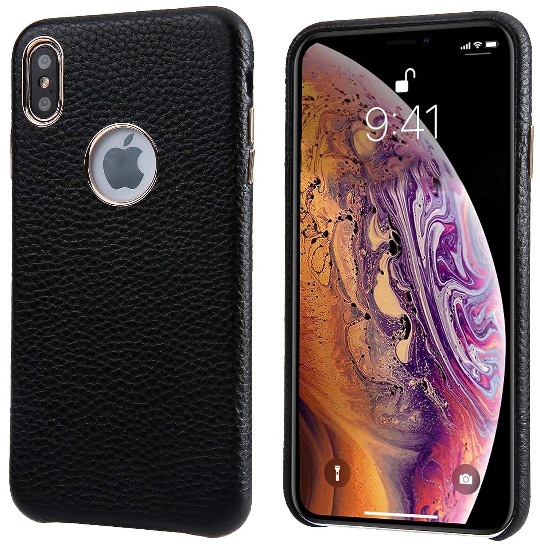 iPhone Xs Maxのレザーケース、Reginnスリムフィット電話カバー[ワイヤレス充電対応] iPhone Xs Max用フルグレイン牛革レザーケース(ブラック)   B07MR79VBZ