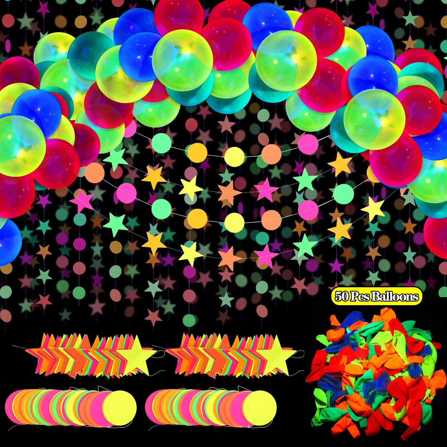 Amazon Com 54 Pieces Glow Neon Party Supplies Decorations Includes 10 Inches Neon Fluorescent Blacklight Birthday Balloons 57 8 Feet Black Light Star Circle Dots Glow In The Dark Garland Banner Decorations Toys Games