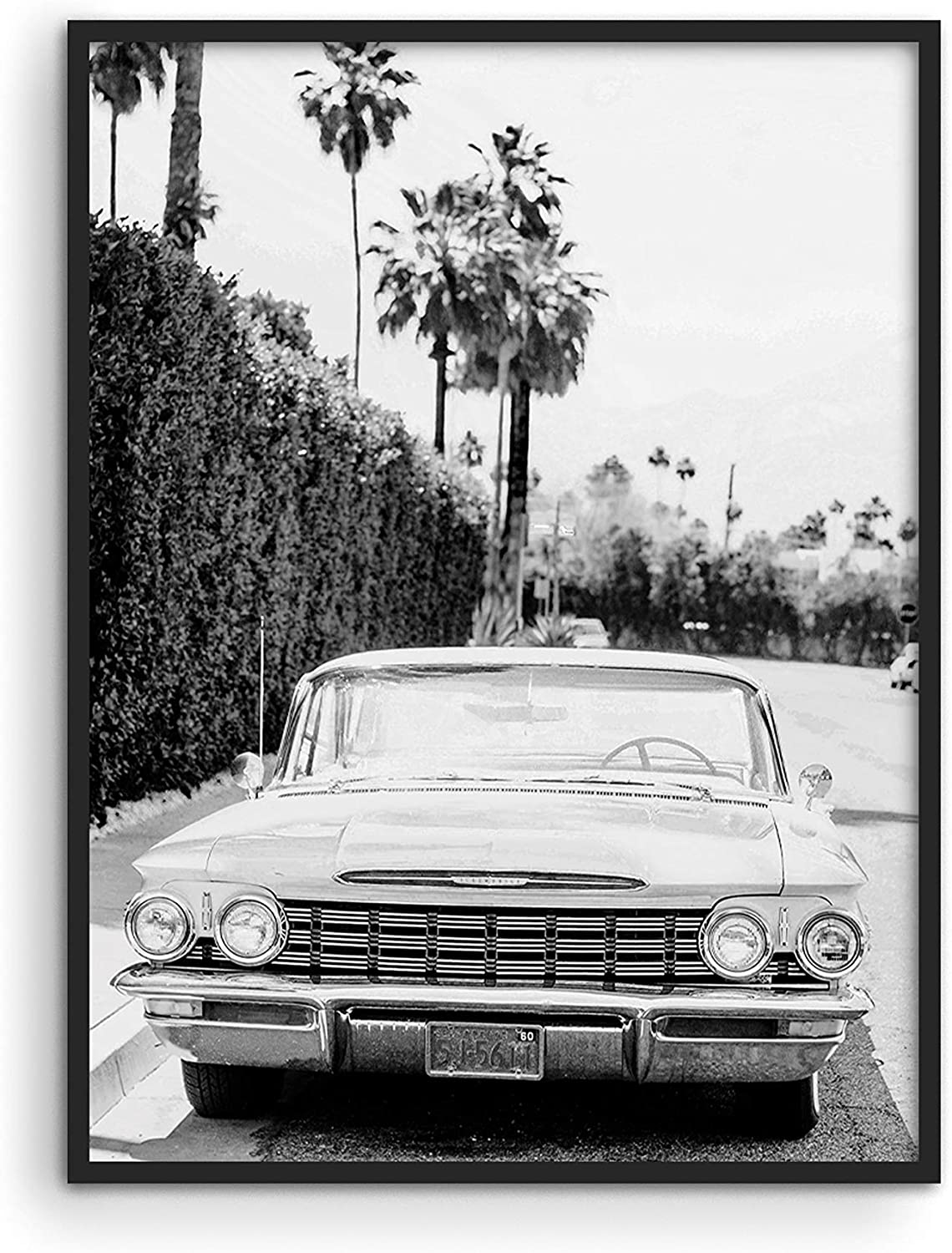 """Black and White Vintage Car Poster - By Haus and Hues 