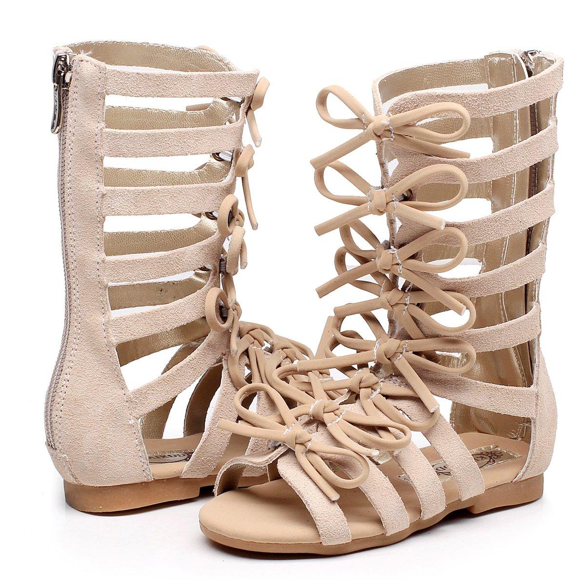 Children Girls Roman Zipper Bowknot Knee-High Gladiator Sandals Summer Boots