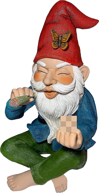 Garden Gnome - Relaxed Gnome - 9.6 Inch Tall Statue - Lawn Garden Figurine