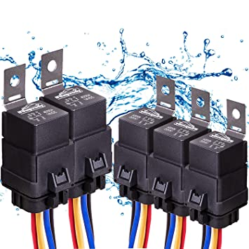 81pqo dzS3L._SY355_ amazon com 5 pack 40 30 amp automotive waterproof relay switch 18Awg Wire at honlapkeszites.co