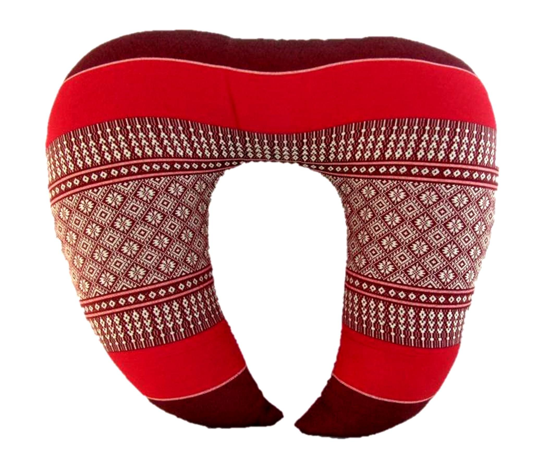 Blue Orchid Thai Kapok Filling U Shaped Travel Pillow Reading Neck Support For Car Airplane (U Shape Daisy Raspberry)