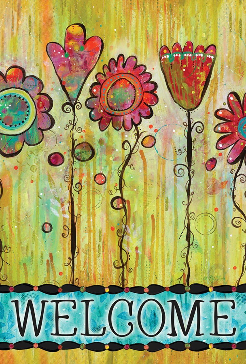 Toland Home Garden Welcome Blooms 12.5 x 18 Inch Decorative Spring Summer Abstract Flower Garden Flag