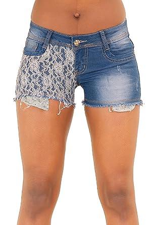 14d7499282a2 Womens Ripped Denim Shorts White Black 3 4 Length Style Ladies UK Sizes  6-14 (6