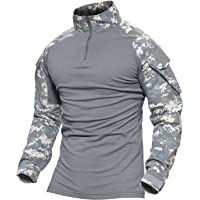 MAGCOMSEN Tactical Military Combat Long and Short Sleeve Slim Fit Camo Shirt with Zipper