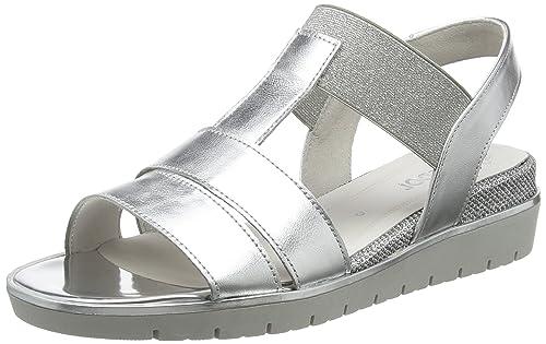 Shoes Basic, Sandali con Cinturino alla Caviglia Donna, Multicolore (Silber), 35.5 EU Gabor
