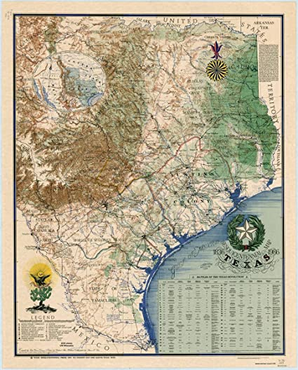 Map Of Texas 1836.Amazon Com Historic Map Texas 1836 1984 Texas 1836 1986