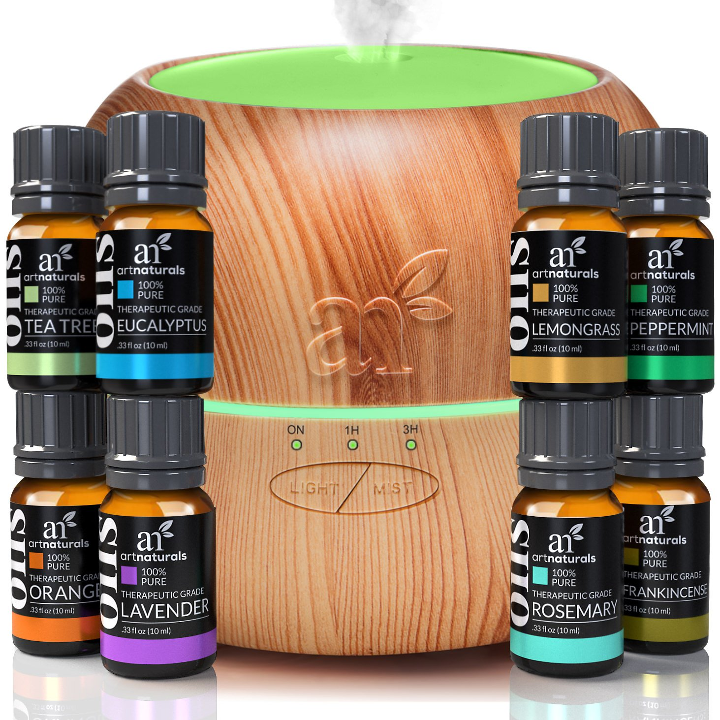 ArtNaturals Aromatherapy Essential Oil and Diffuser Gift Set - (150ml Tank & Top 8 Oils) - Peppermint, Tee Tree, Lavender & Eucalyptus - Auto Shut-off and 7 Color LED Lights - Therapeutic Grade