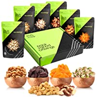 Gourmet Gift Basket, Fresh Nut Mix & Dried Fruit (6 Bags) - Variety Care Package, Birthday Party Food, Holiday Arrangement Platter - Healthy Snack Box for Families, Women, Men, Adults