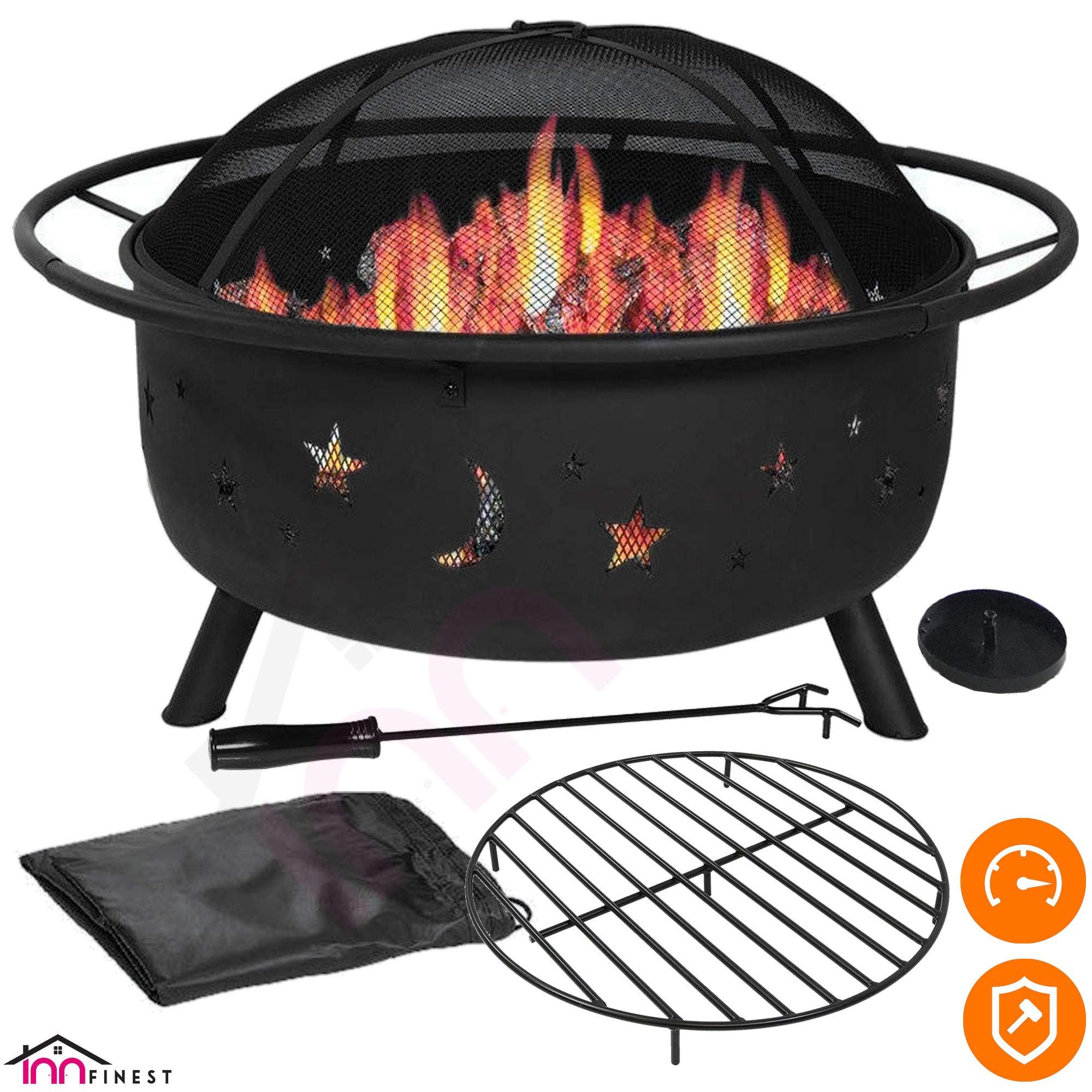 Outdoor Fire Pit Set - Large Bonfire Wood Burning Firepit Bowl - Spark Screen Cover, Fireplace Poker, BBQ Grill Metal Grate, Waterproof Rain Cover - for Outdoor Backyard Terrace Patio (31 Inch) by InnFinest