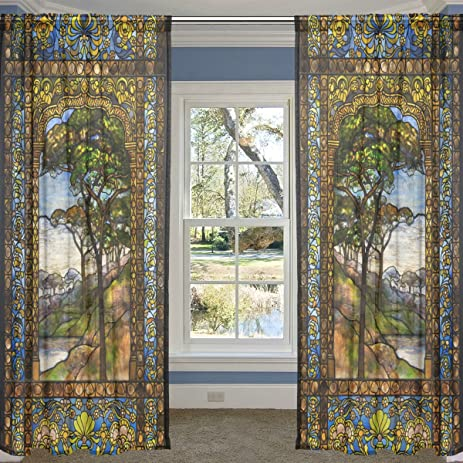 ALIREA 2 Panels Asian Guy Sheer Voile Window Curtain Treatment Drapes  55u0026quot; ...