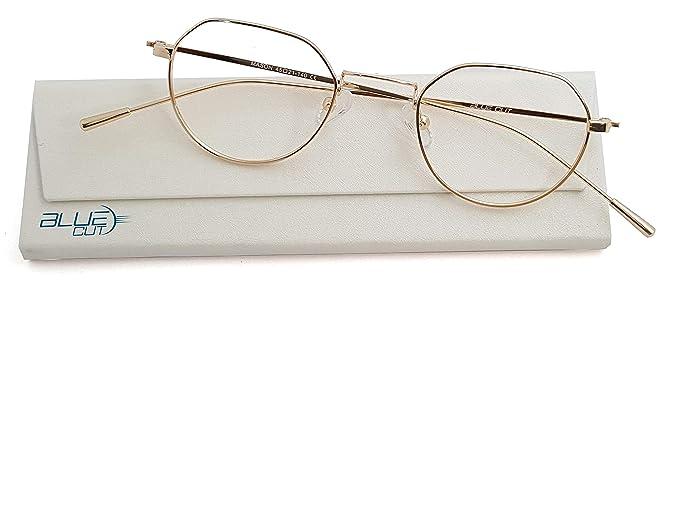 1913da5298 Amazon.com: Blue Light Blocking Round Glasses Anti-Fatigue Non prescription  Computer Glasses Prevent Headaches Gamer Glasses: Clothing