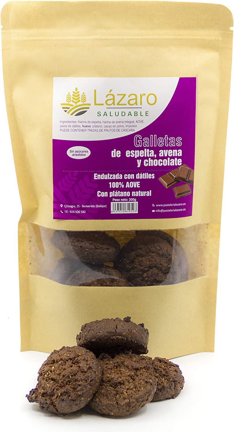 Lázaro - Galletas de Avena, Espelta y Chocolate, 200 g: Amazon.es ...