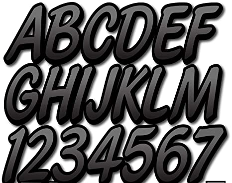 Stiffie Whipline Yellow//Black 3 Alpha-Numeric Registration Identification Numbers Stickers Decals for Boats /& Personal Watercraft