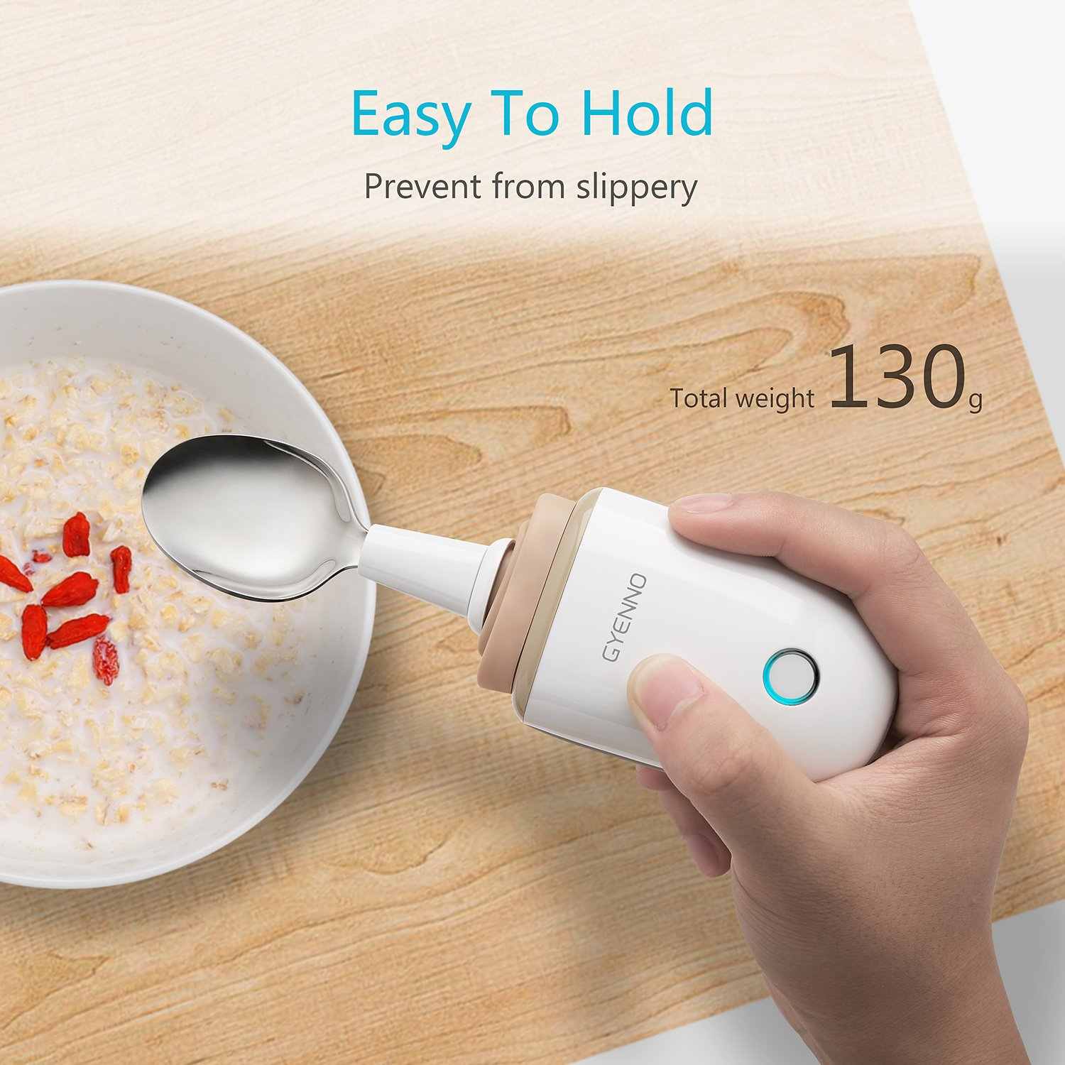 Parkinson Spoon for hand tremor, GYENNO Steady Spoon with Self Stabilizing Smart Lift Kit for Parkinsons Patients, Silverware Kit Cutlery for Elderly ¡ (Spoon) by GYENNO (Image #6)