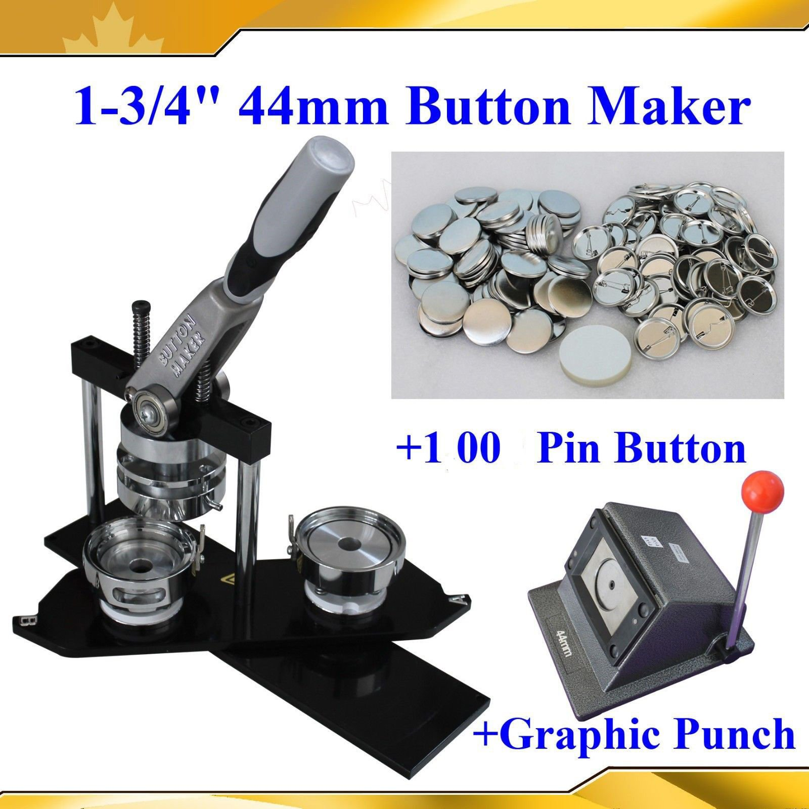 Asc365 1-3/4'' N4 Button Maker+1,00 All Metal Pin Badge+heavy Duty Punch Cutter by Button Maker