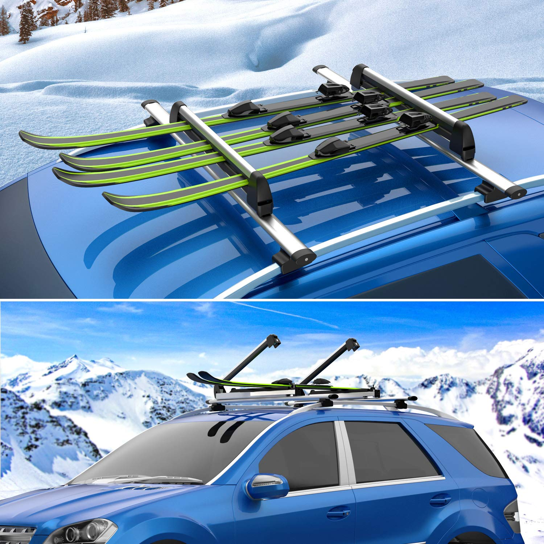 ENKEEO Skitr/äger 30 Zoll Universal Snowboardhalter Ultraleicht Auto Dachtr/äger Snowboardtr/äger aus Aluminium mit Schl/üssel f/ür 6 Paar Ski// 4 Snowboards Schwarz