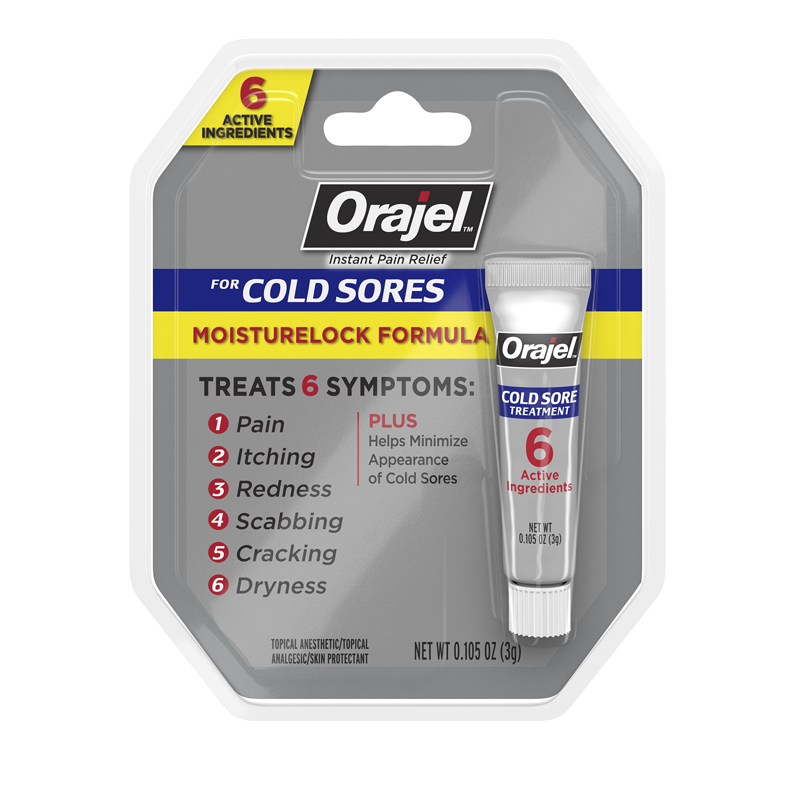 Orajel Moisturelock Cold Sore Treatment, Cream 0.105 oz