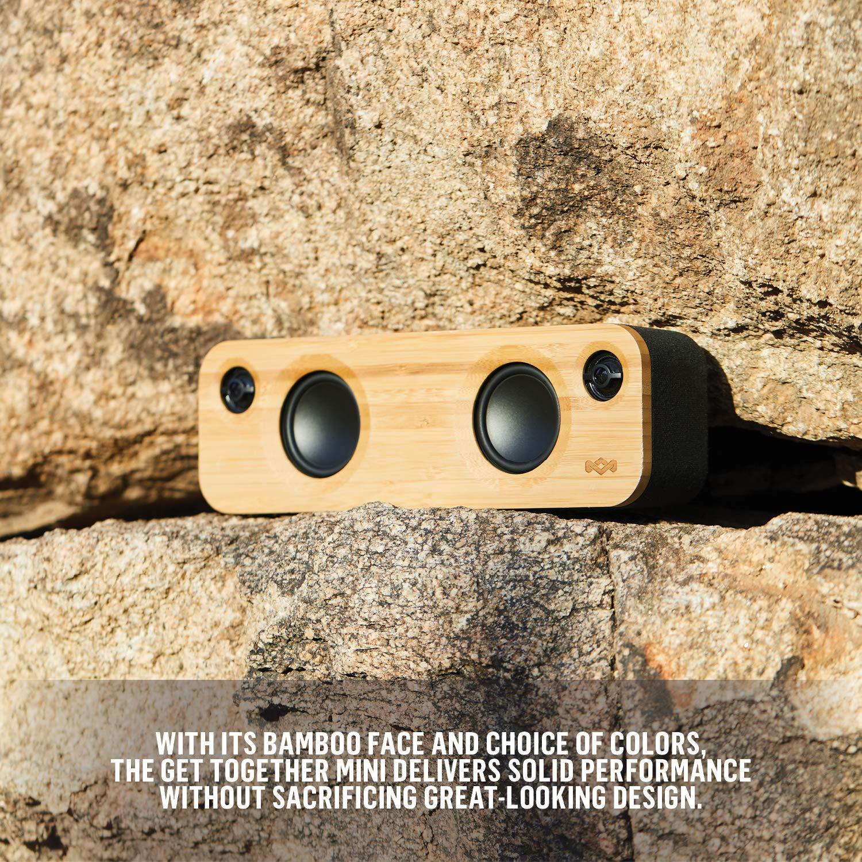 Ingresso Aux Porta USB per Caricare Altri Dispositivi House of Marley Get Together Mini Sistema Audio Bluetooth Wireless Portatile Fino a 8h di Riproduzione Nero//Legno 24 W