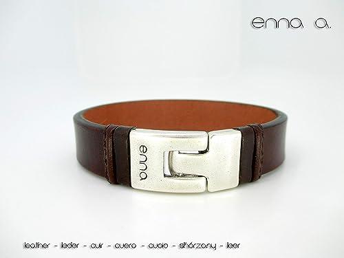 Pulsera cuero de color marrón, pulsera hombre, estilo ...
