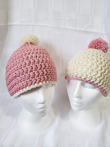 Ivory crochet beret with pom pom