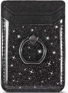 TOPWOOZU Card Holder for Back of Phone,Stick on Credit Card Holder Wallet Pocket for iPhone,Samsung