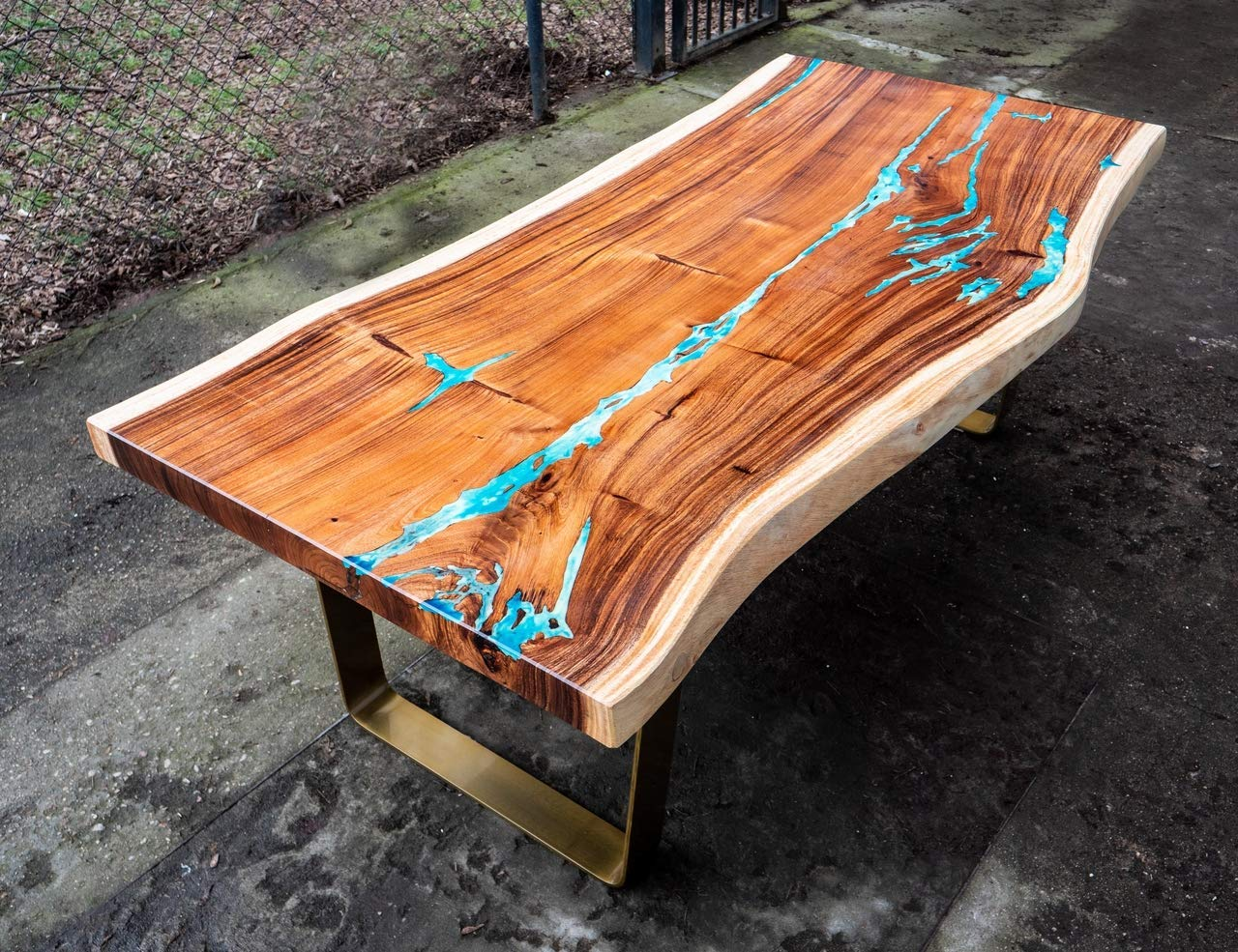 Amazon Com Dining Table With Resin And Live Edge Mad Of Suar Wood