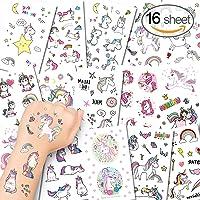 Alohar 275pcs Tatouage Enfant Tatouage Licorne - Anniversaire Licorne Enfant Tatouages Temporaires Ephémères pour Fille, Petit Cadeau Pinata (16 Feuilles)