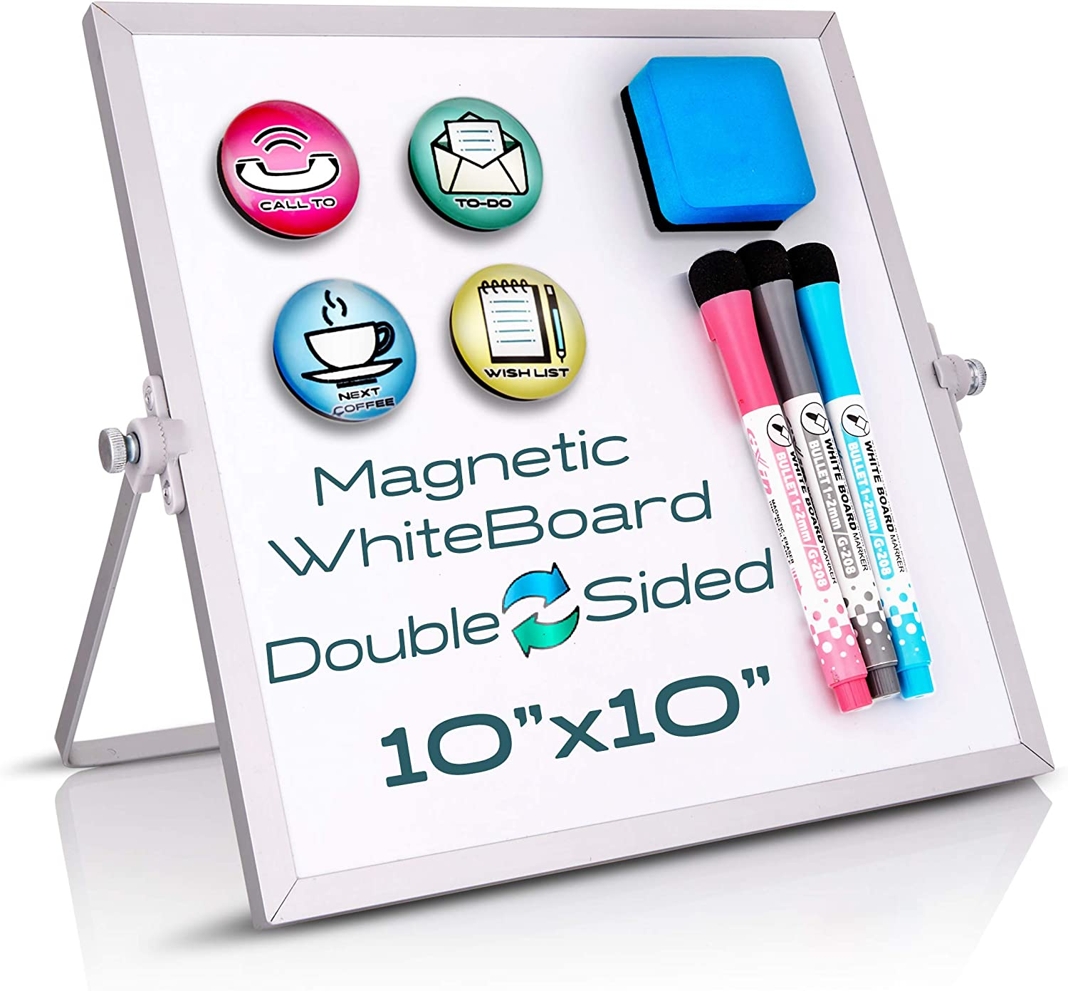 """Small Dry Erase Board - Desktop Portable Whiteboard 10"""" X 10"""" With Stand, 3 Markers, 4 Magnets & Eraser - Tabletop Double-Sided 360 Portable Mini White Board For Office Desk, Kids Home School Students"""