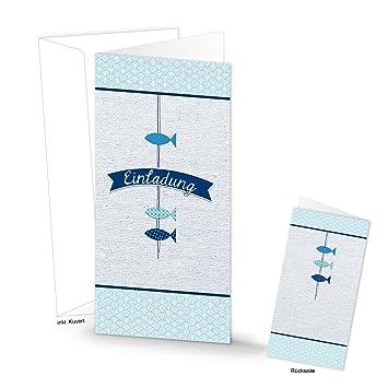 Einladungskarte EINLADUNG Karte Blau Weiß Türkis 3 FISCHE MIT KUVERT  Kommunion Taufe Geburtstag DIN Lang