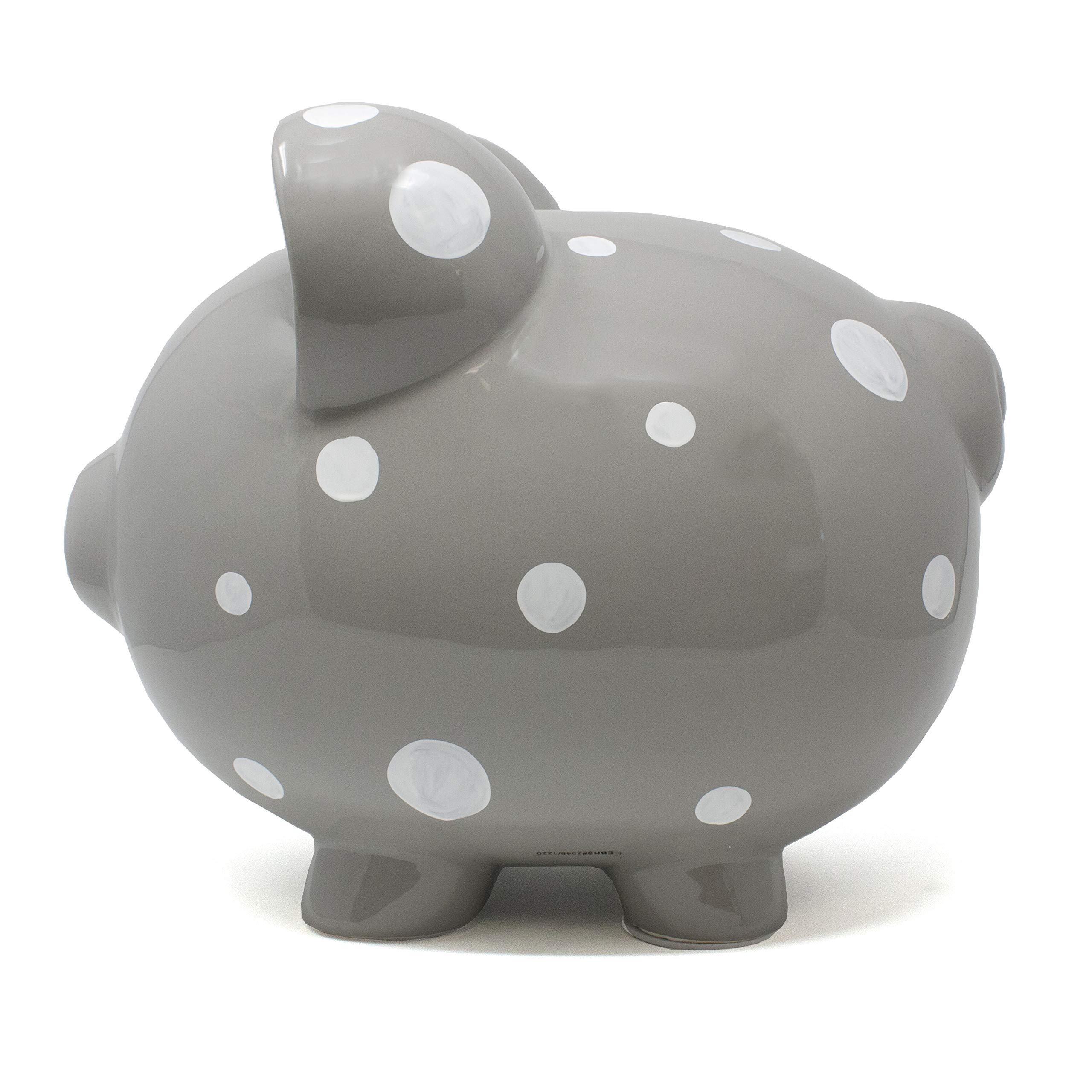 Child to Cherish Large Ceramic Boss Piggy Bank, Gray Polka Dot by Child to Cherish (Image #4)
