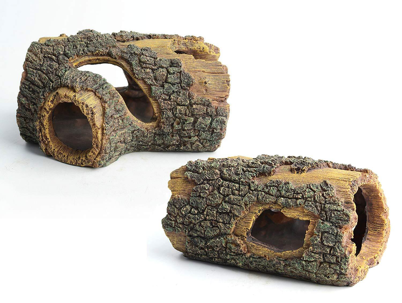 Hy gger Aquarium Resin Tree Trunk Ornament and Cabomba Aquarium Plant - Fish Tank Accessory Bundle (2 Logs) by Hy gger