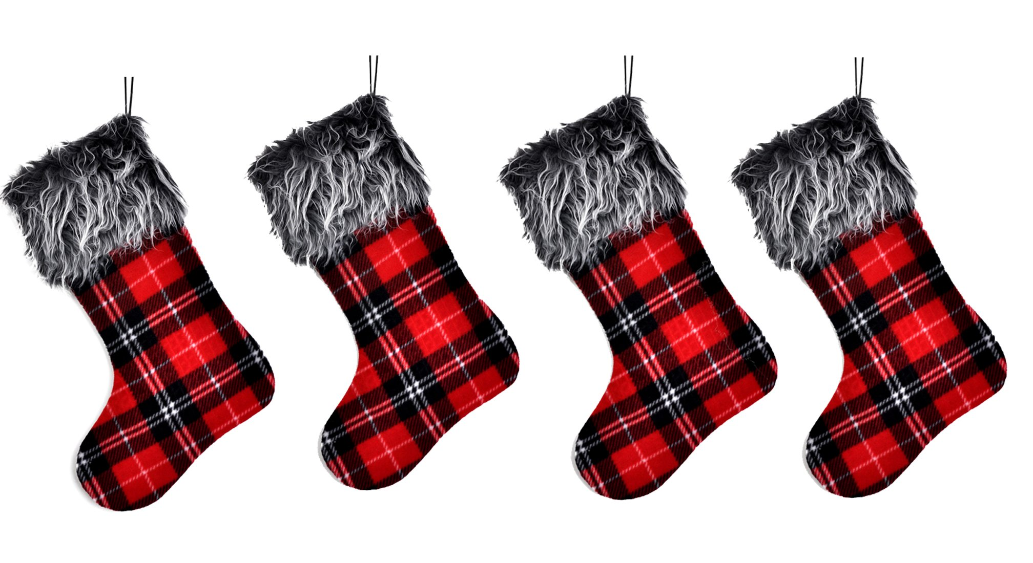 Welldone Buffalo Plaid Christmas Stockings Red Decoration - Best Gifts Decor for Home