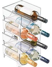 mDesign Rangement bouteille – Casier à bouteille accessoire parfait pour ranger les bouteilles – Porte bouteille empilable idéal pour bouteilles de vin – 8 bouteilles de vin – Sans BPA – transparent