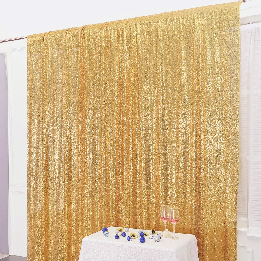 Juya Delight 7ft x 7ft New Gold Sequin Photography Backdrop Curtain for Party Banquet Festival Wedding Anniversary Exhibition