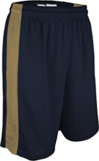 "product image for PT-6939-CB Performance Dry Fit 9"" Short with White Side Panel-Made with Moisture Management and Odor Defense-Running, Basketball, Cross Training, and Gym-Sizes SM-XXXL. (XXX-Large, Navy/Vegas Gold)"